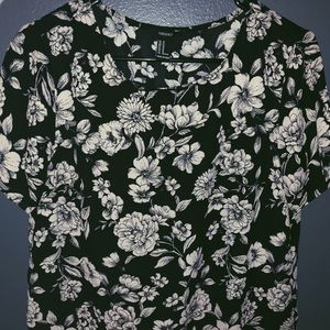 forever21 / black and creme floral shirt